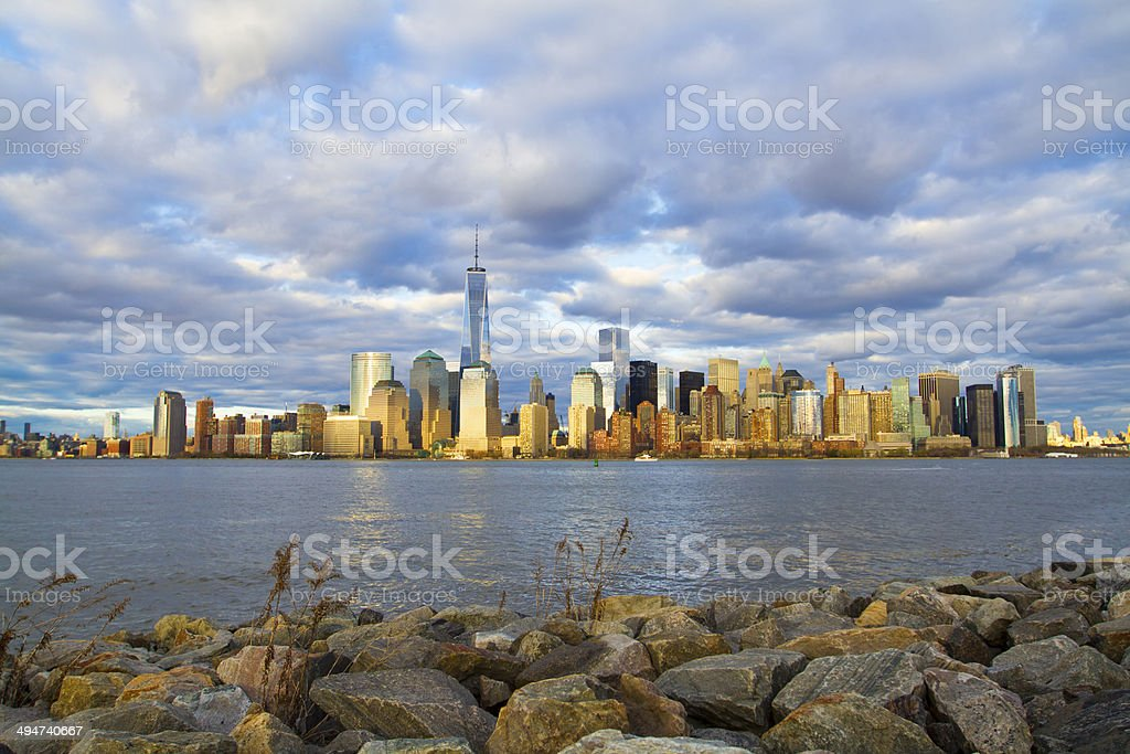 New York City skyline with the Freedom Tower stock photo