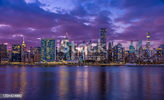 istock New York City Skyline with UN Building, Chrysler Building, Empire State Building and East River at Sunset. 1204424992