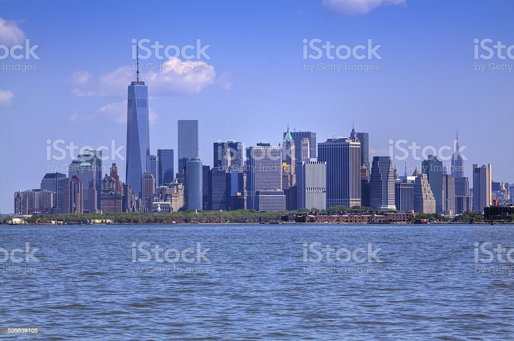 New York City Skyline with World Trade Center, Downtown Manhattan. royalty-free stock photo