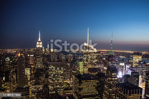 516768600 istock photo New York City Skyscrapers at Night 1216197354