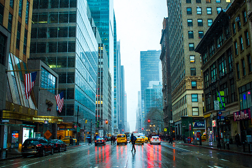 New York City Snow Rainy day