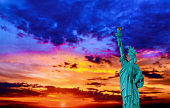 American Symbol US Statue of Liberty at Sunset, New York City