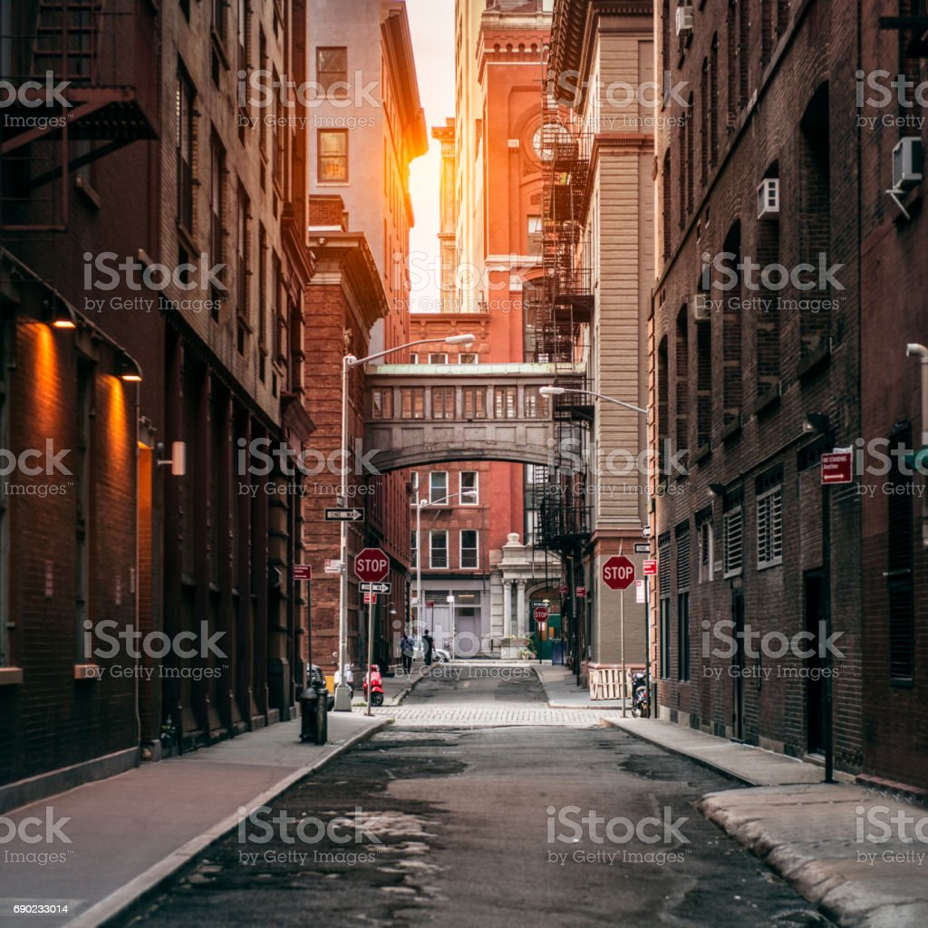 New York City street at sunset time in TriBeCa New York City street at sunset time. Old scenic street in TriBeCa district in Manhattan. Alley Stock Photo