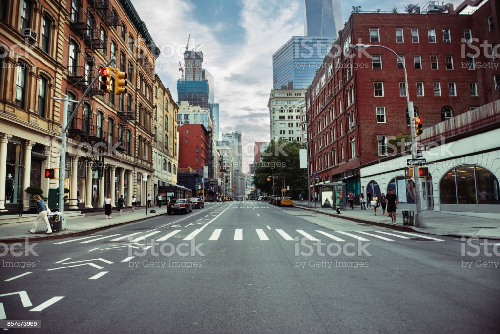 New York City street road in Manhattan at summer time stock photo