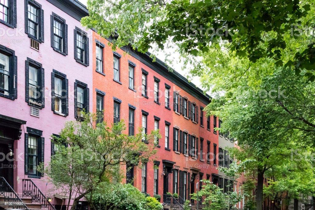 New York City street scene in the historic Greenwich Village neighborhood of Manhattan NYC stock photo