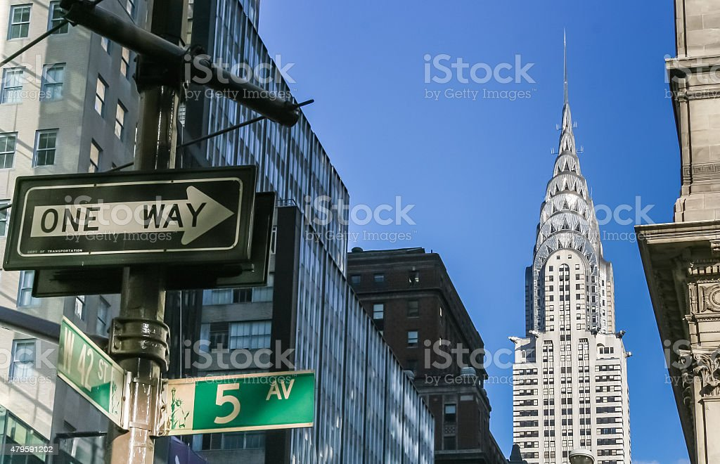 New York City street signs and Chrysler building stock photo