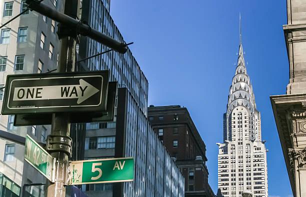 new york city street signs and chrysler building - chrysler building stock photos and pictures