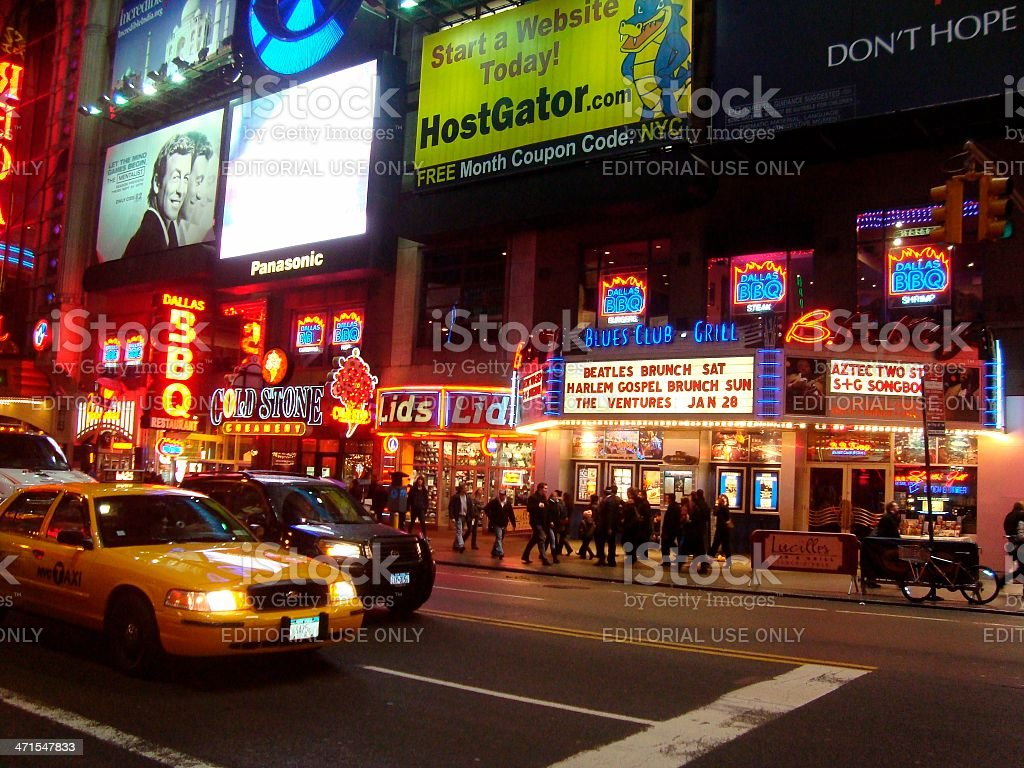 New York City streets by night royalty-free stock photo