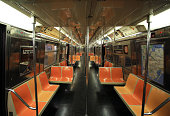 New York - 6 October 2016: the empty car in subway in new york city. The New York City Subway is the largest rapid transit system in the world by number of stations