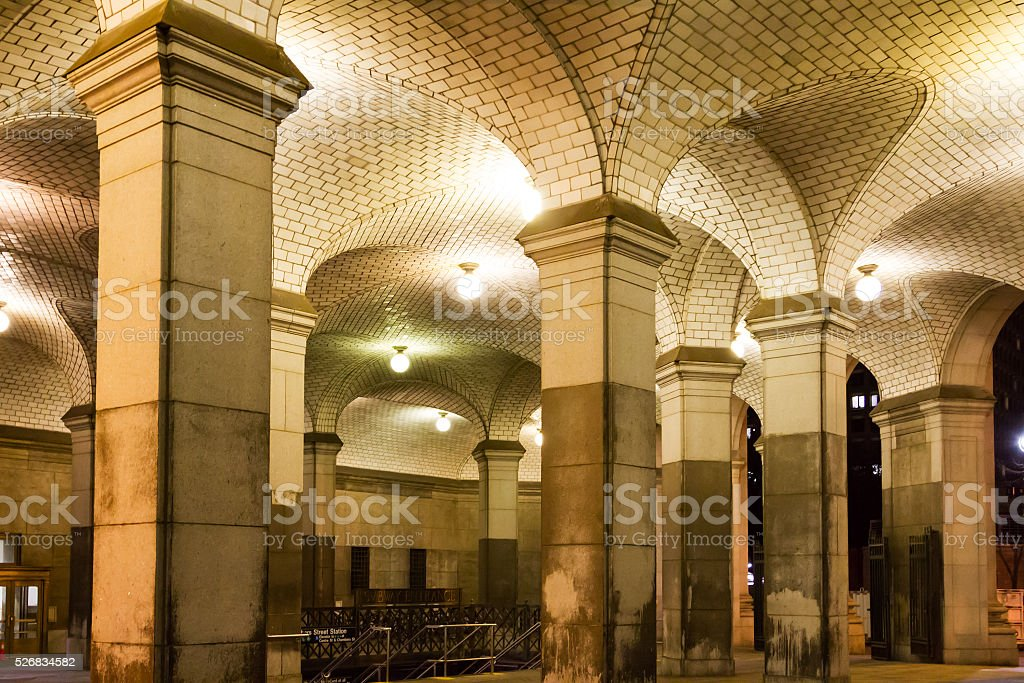 New York City Subway Station at Night stock photo