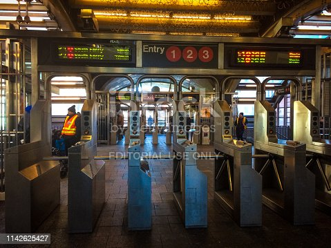 New York, USA - 03 24 2018: New York city subway station entrance