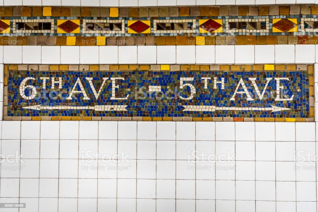 New York City Subway Tile Directional Stock Photo More Pictures Of