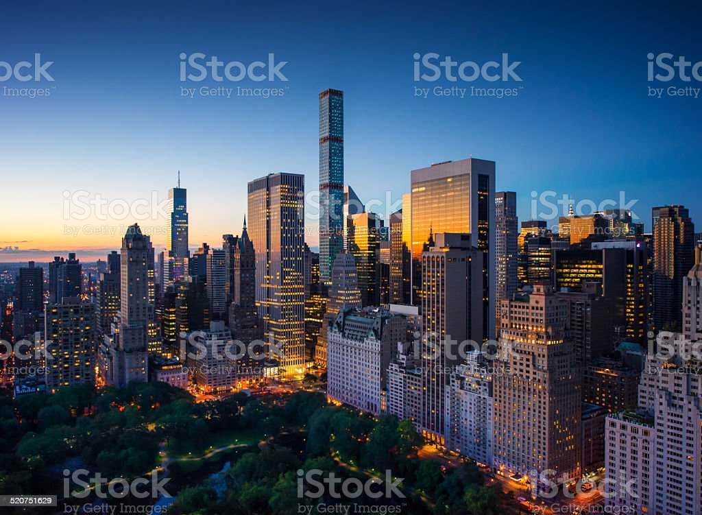 New York city sunrise over central park and upper manhattan stock photo