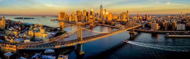 New York City Sunrise,NY Aerial Panoramic stock photo