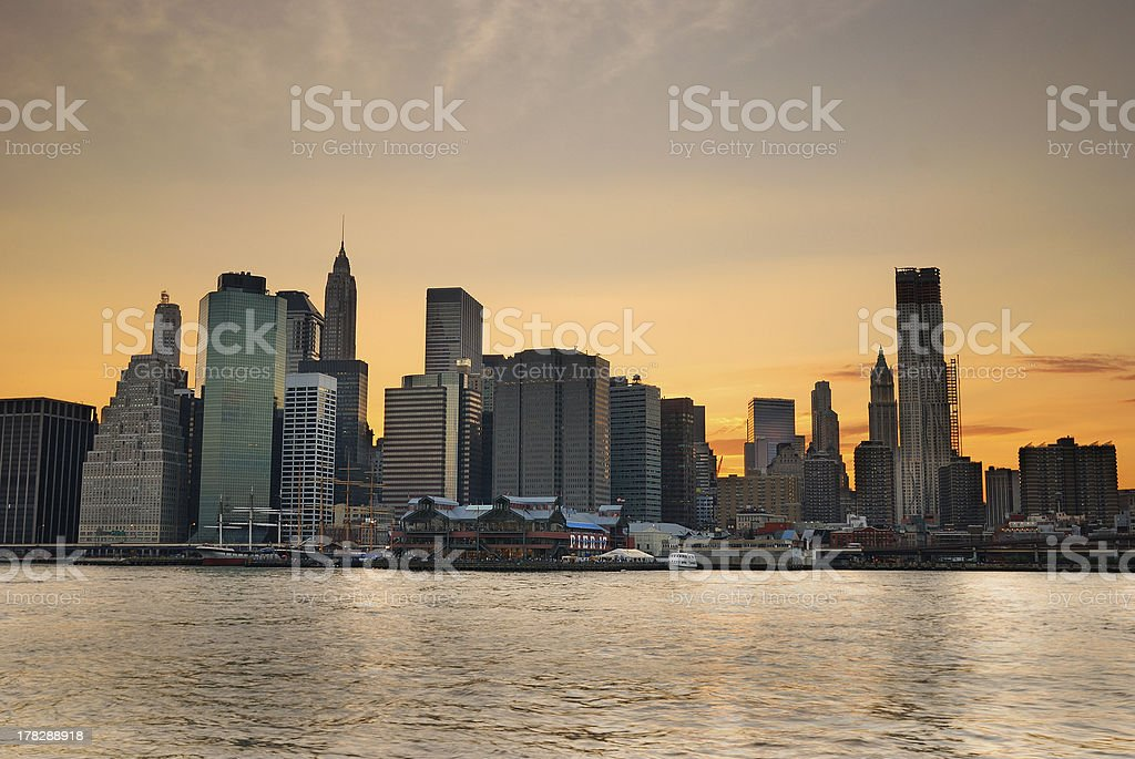 New York City sunset royalty-free stock photo