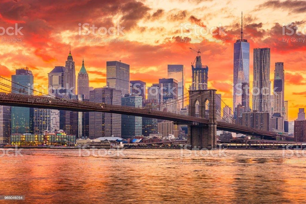 New York City Sunset Skyline royalty-free stock photo