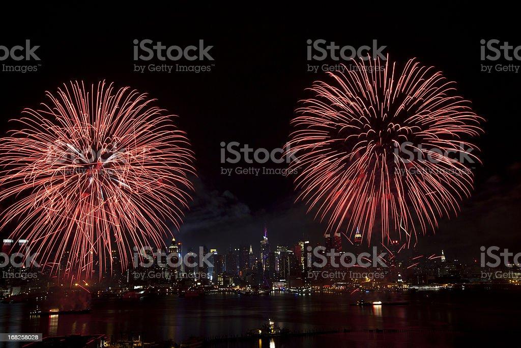 New York City Syncronized Fireworks royalty-free stock photo