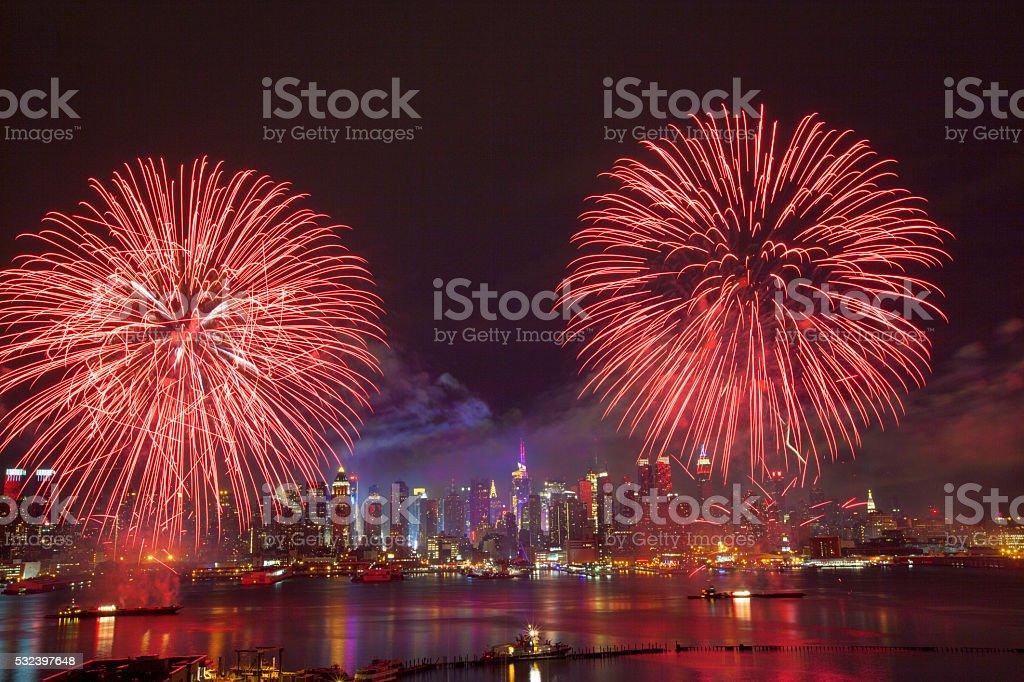 New York City Syncronized Fireworks stock photo