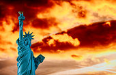 Colorful sunset in the Statue of Liberty New York City,