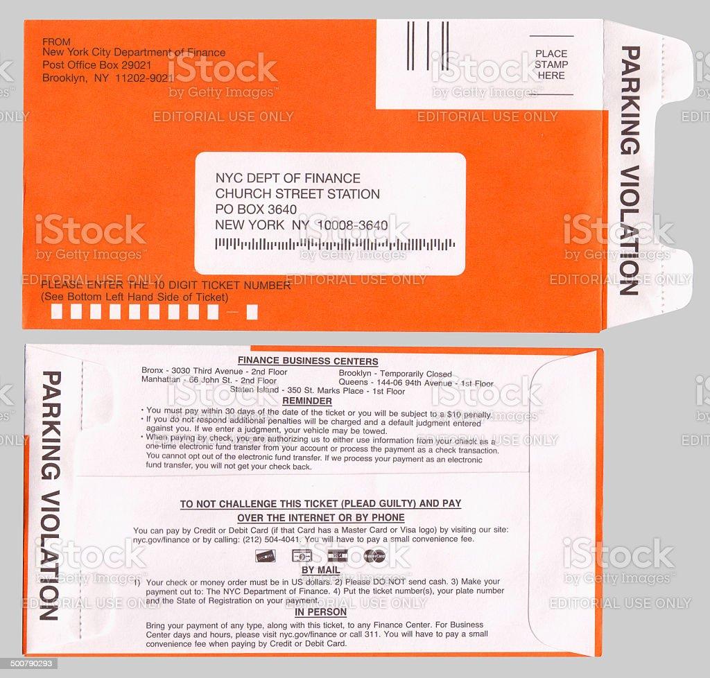 New York City Ticket Violation Letter stock photo