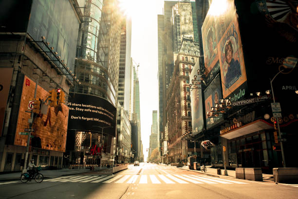 New York City Times Square Covid-19 Lockdown stock photo