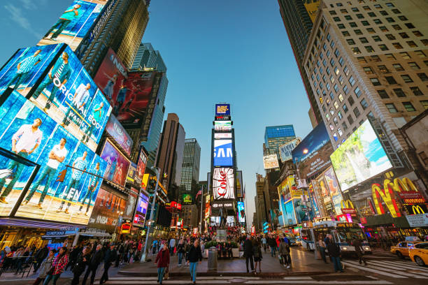 new york city times square - advertisement stock photos and pictures