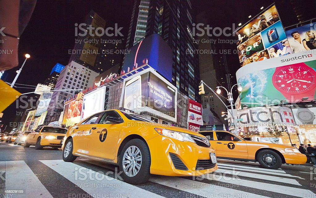 New York City, Times Square with Taxi Cabs royalty-free stock photo