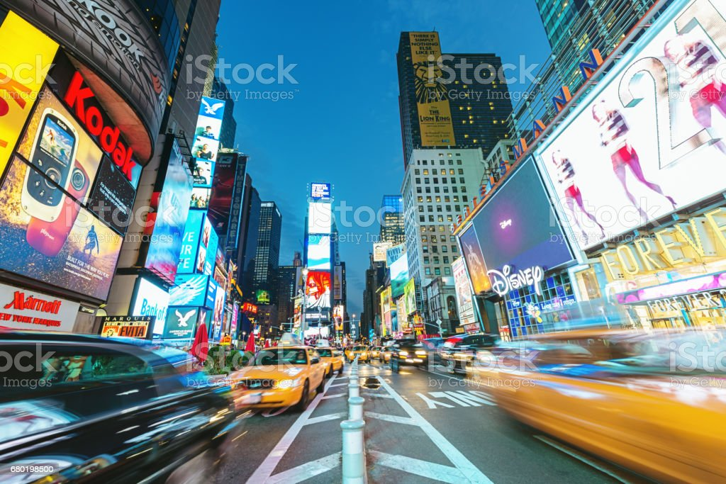 New York City Times Square Yellow Cab Traffic stock photo