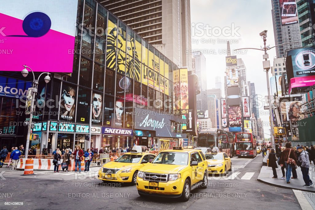 New York City Times Square Yellow Cab Traffic royalty-free stock photo