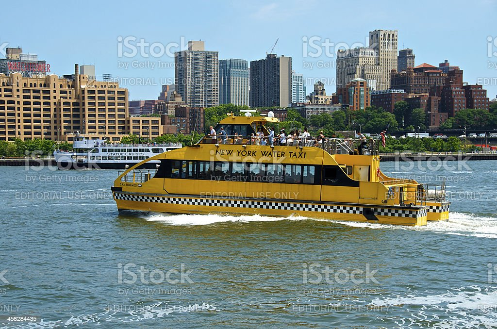 New York City Tour & Taxi boats, East River, Brooklyn royalty-free stock photo