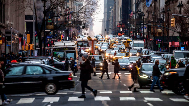 New York City traffic New York traffic, USA traffic jam stock pictures, royalty-free photos & images