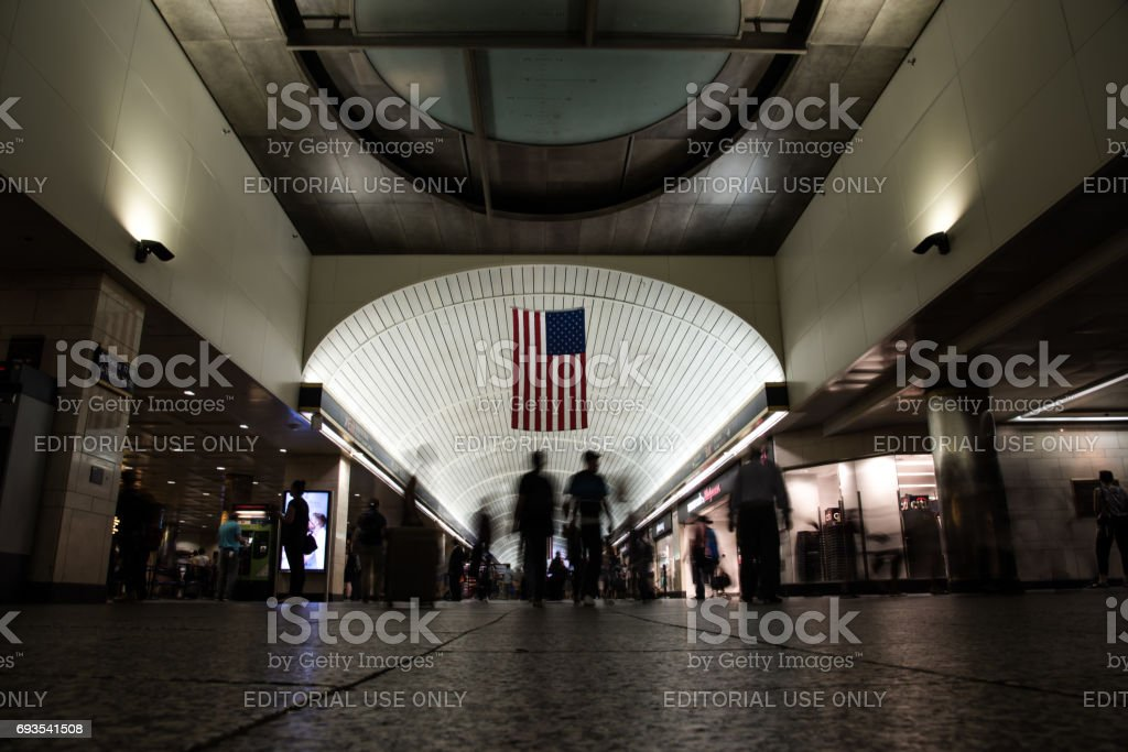 New York City, United States  – May 19, 2017:  Inside of Pennsylvania Station, also known as New York Penn Station, is the main intercity railroad station in New York City. Picture taken during the rush time. stock photo