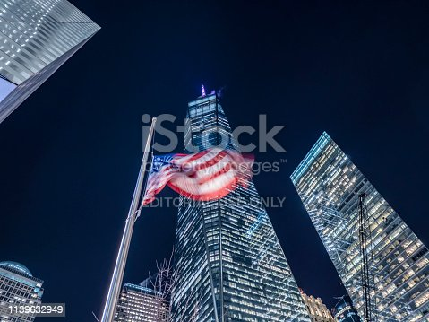 New York City United States of America January 21th 2019 : The Freedom Tower or One World Trade Center building is the tallest building of the United States and was build after the 911 terrorist attacks on the World Trade Center grounds