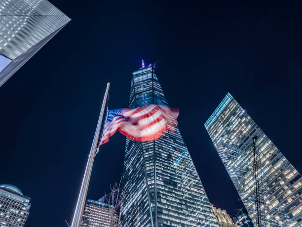 New York City United States of America January 21th 2019 : The Freedom Tower or One World Trade Center building is the tallest building of the United States and was build after the 911 terrorist attacks on the World Trade Center grounds stock photo