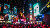 New York City, USA, January 1, 2015, Atmospheric new year's eve celebration on famous times square intersection after midnight with countless happy people enjoying the party