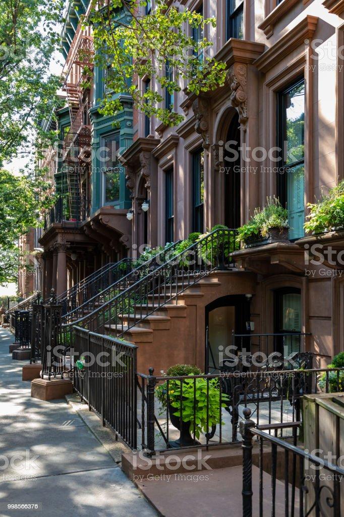New York, City / USA - JUL 10 2018: Old Buildings of  Brooklyn Heights Neighborhood in New York City stock photo