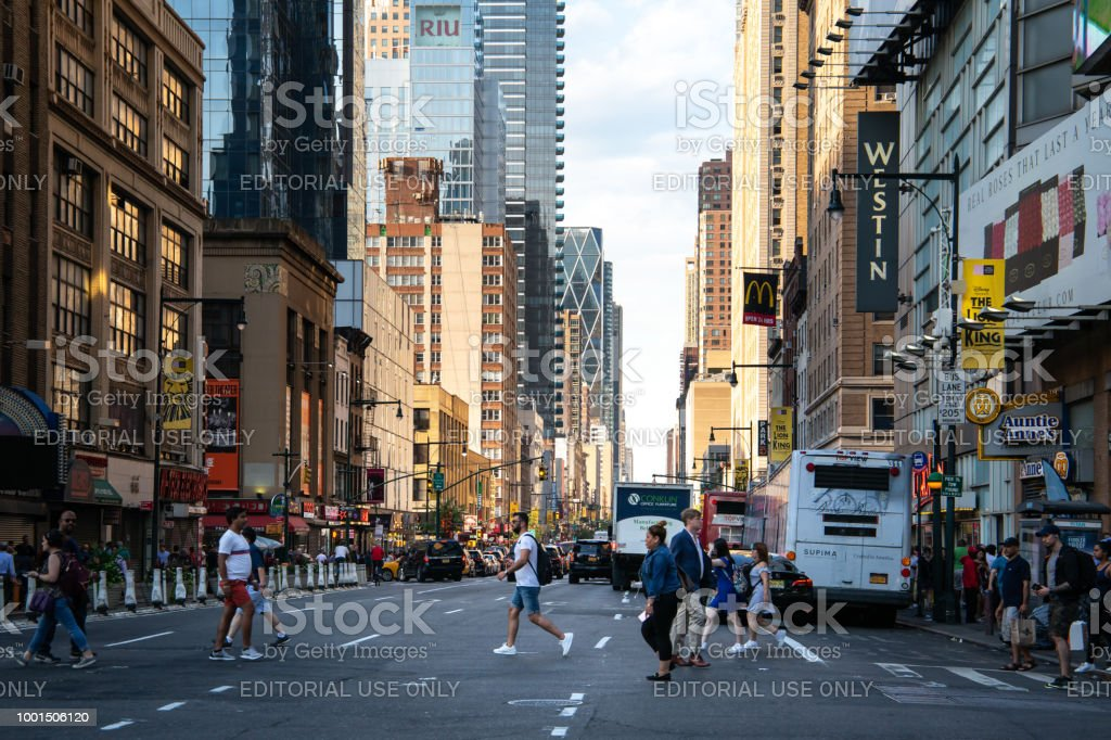 New York City Usa Jul 13 2018 Seventh Avenue Street View At Rush