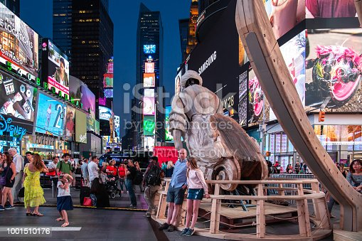 New York City / USA - JUL 13 2018: WAKE, parts of a shipwreck, modeled on the USS Nightingale by Mel Chin on Times Square