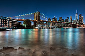 A famous view of Brooklyn bridge and Manhattan.