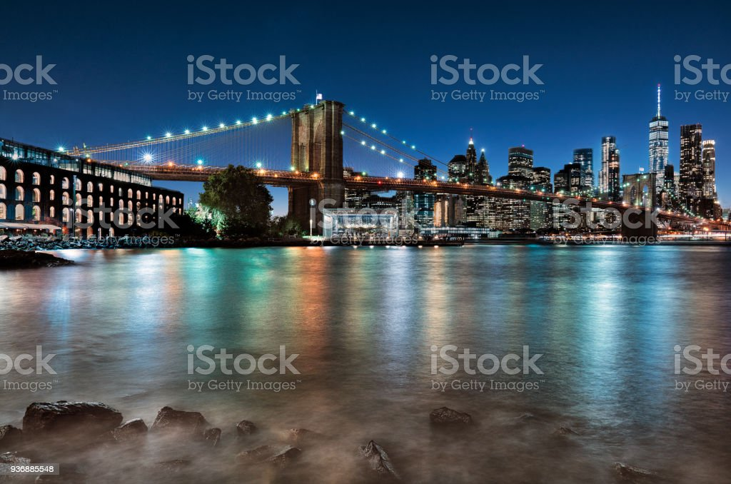 New York city view with Brooklyn bridge stock photo