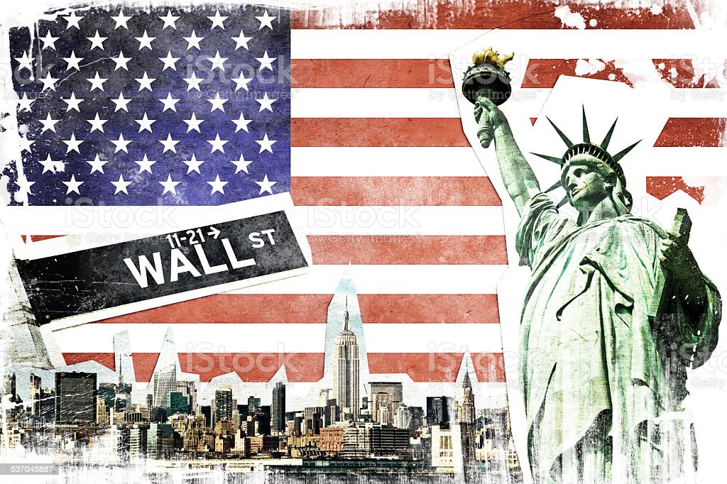New York City vintage collage, US flag background stock photo
