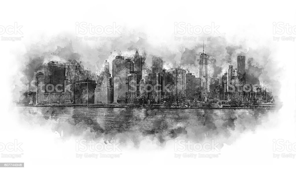 New York City watercolor artwork black and white stock photo