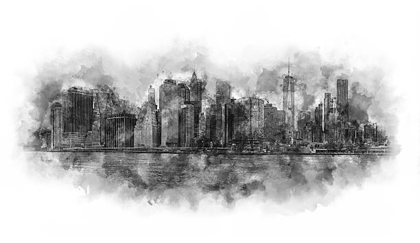 New York City watercolor artwork black and white stock photo