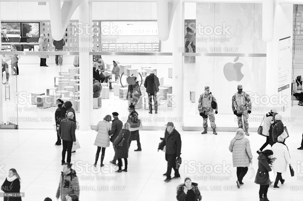 New York City Winter Travelers stock photo