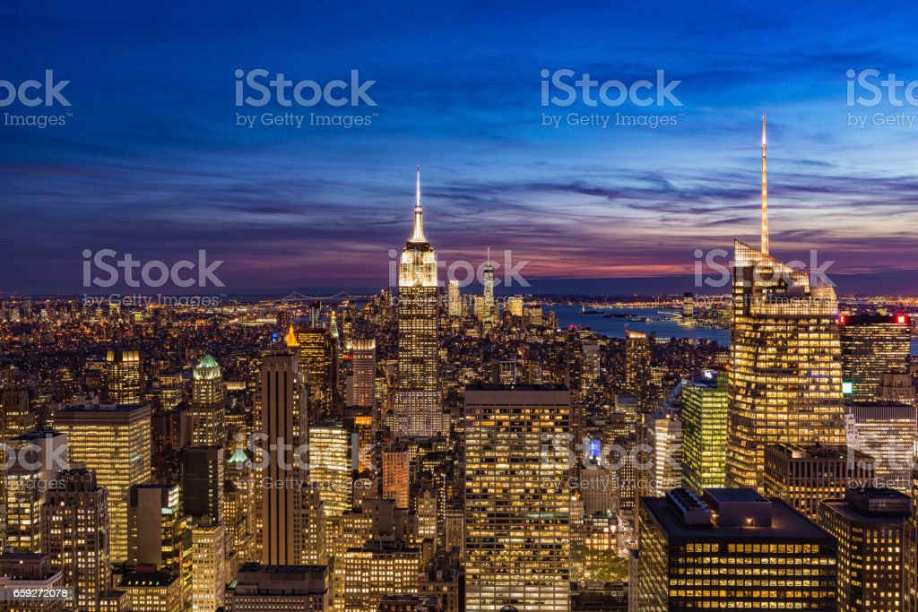 New York City with skyscrapers at sunset - foto de stock