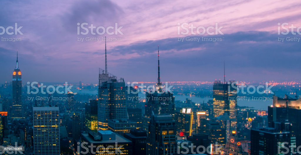 New York City with skyscrapers at sunset royalty-free stock photo