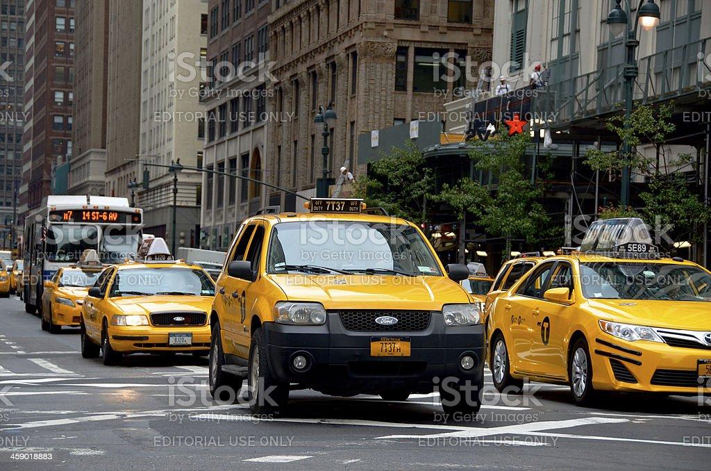 New York City Yellow Taxis, 7th Avenue, Midtown Manhattan royalty-free stock photo