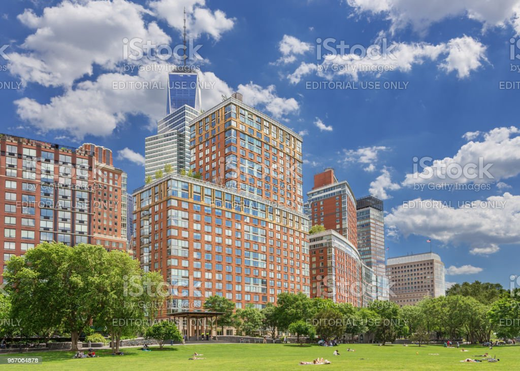 New York Cityscape with Residential Highrises of Battery Park, World Trade Center and Blue Sky. stock photo