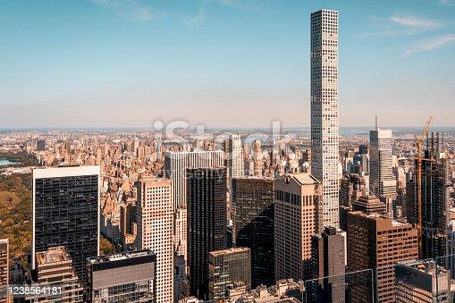 432 Park Avenue Skyscraper and Central Park in New York.