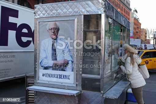istock New York coffee cart displaying a photo endorsing Bernie Sanders 510634972